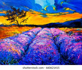 Oil painting on canvas. Lavender field. Modern art