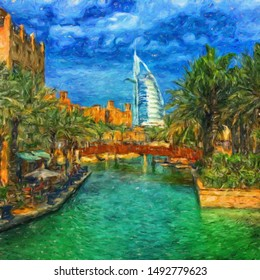Oil painting on canvas modern city and scyscrapers fine contemporary print art. Mixed media digital drawing. View of Dubai city in OAE. Colorful big town scene for wall poster, postcard, stationary.