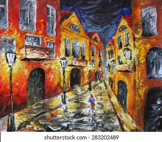 Oil painting on canvas. Night old city. Artwork. Yellow building. Lamps. A man walks on a night city. Impressionism. Art.