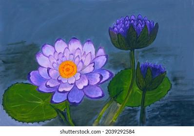 Peinture à l'huile sur toile de nénuphars violets sur la surface de l'étang