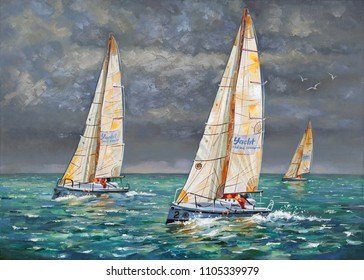 An oil painting on canvas. Regatta on a cloudy day. Yachts coming to the finish. Author: Nikolay Sivenkov.