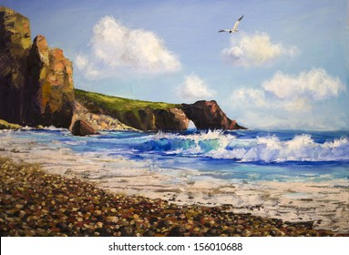 Oil painting on canvas , sea landscape with seagull