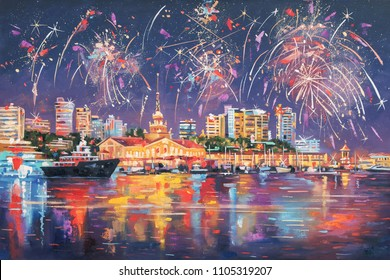 Oil painting on the canvas of the seaport of Sochi, with a large salute and reflection in the sea. Author: Nikolay Sivenkov.