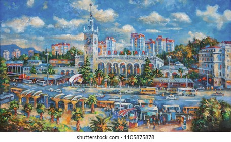 An oil painting on canvas. Sochi railway station, architectural landscape of the beloved city of Sochi. Author: Nikolay Sivenkov.