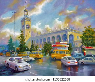 An oil painting on canvas. Sochi railway station, after the rain. Architectural landscape of the beloved city of Sochi. Author: Nikolay Sivenkov.