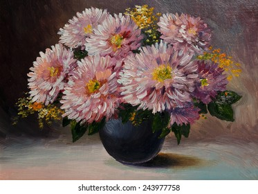 Oil painting on canvas - still life flowers on the table
