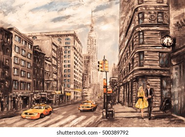 oil painting on canvas, street view of New York, man and woman,  taxi,  modern Artwork,  American city, illustration New York