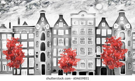 oil painting on canvas, street of Amsterdam. modern Artwork. house. red Tree. Netherlands. Black and white.