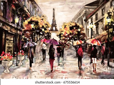 oil painting on canvas, street view of Paris. Artwork. eiffel tower . people under a red, purple umbrella. Tree. France