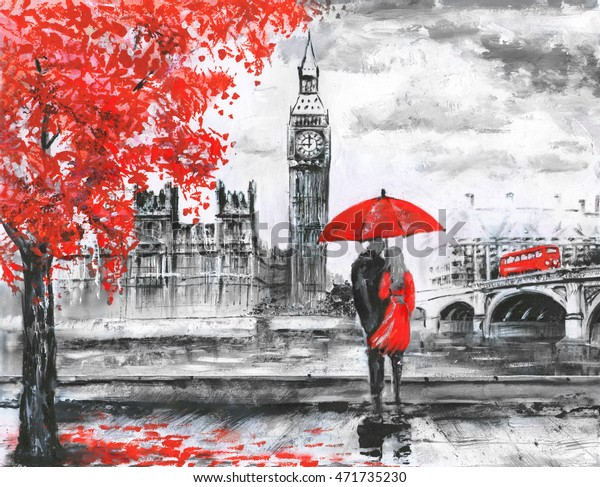 oil painting on canvas, street view of london, river and bus on bridge. Artwork. Big ben. man and woman under a red umbrella
