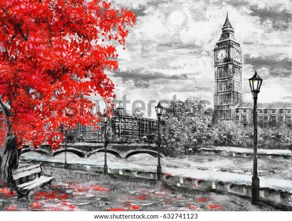 живопись маслом на холсте, улица Лондона. Произведение искусства. Биг Бен и красное дерево. Англия. Мост и река