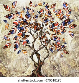 oil painting on canvas, stylized tree. Modern Artwork.  interior illustration. Abstract background