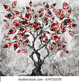 oil painting on canvas, stylized tree. Modern Artwork.  interior illustration. Abstract background. Red black and white