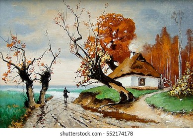 Oil painting on canvas - Ukraine house,village,road
