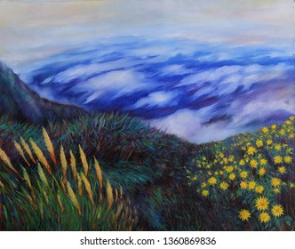 Oil Painting on Canvas Winter Clouds on Beautiful high Mountains