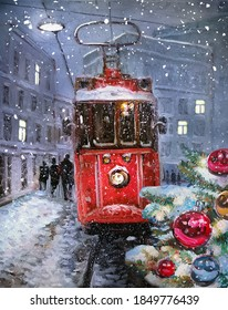 Oil painting on canvas - winter town landscape with decorated Christmas trees and old red tram. Fine art. Hand drawn oil picture for greeting cads with space for text. Evening festive mood