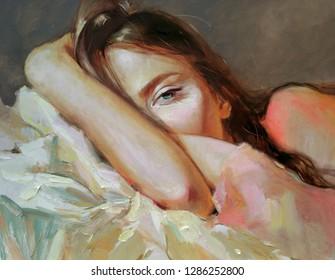 Oil painting on canvas, woman portrait