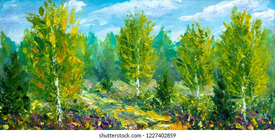 oil painting on canvas-Beautiful summer spring landscape, forest flowers, road to forest and green trees and bright nature-modern impressionism fine art