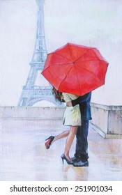 oil painting, a pair of lovers under an umbrella, Eiffel Tower, Paris, valentines day, red umbrella, kiss, passion,