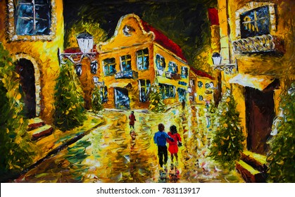 oil painting palette knife impressionism canvas - Old French night city, evening street, yellow houses with red roofs, man hugs a woman,  lanterns, people on the street, reflection, pines. architectur
