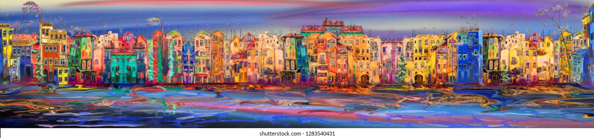 Oil painting panarama of morning town near the sea.