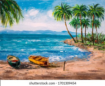 Oil Painting - Paradise Tropical Island Beach