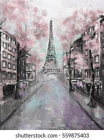 Oil Painting, Paris. european city landscape. France, Wallpaper, eiffel tower. Modern art.  street
