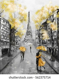 Oil Painting, Paris. european city landscape. France, Wallpaper, eiffel tower. Black, white and yellow, Modern art. Couple under an umbrella on street