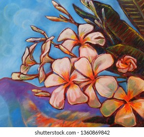 Oil Painting Plumeria flowers and blue sky