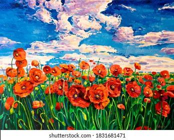 Oil Painting.Red Poppy field. Modern art.