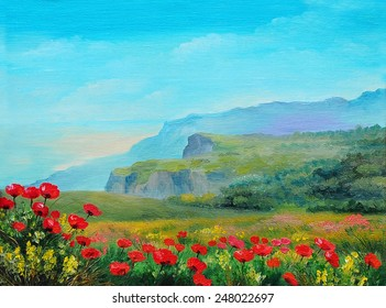 Oil painting - poppy field in the mountains