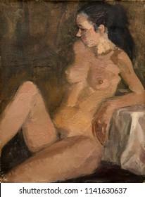 oil painting, portrait nude