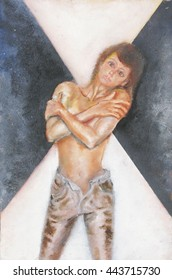 Oil painting of a pretty young woman with crossed arms and vulnerable pose.