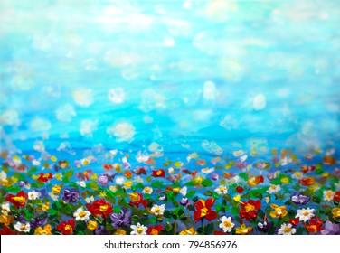 oil painting purple cosmos flower, white daisy, cornflower, wildflower. Flowers meadow, green field paintings. Hand painted floral and green blue sky. Spring flower nature background