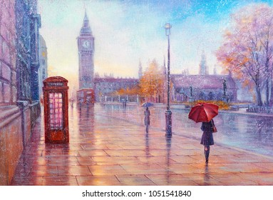 Oil Painting, rain in London. Gentle city landscape.  Big Ben, England, modern art.