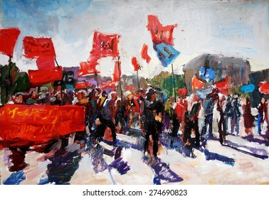 oil painting, rally on the square
