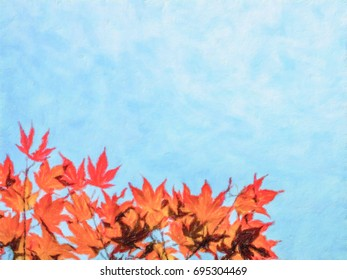 Oil Painting; Red Momiji Maple Leaves at the World Heritage Forest Kumano Kodo, Wakayama Prefecture, Japan
