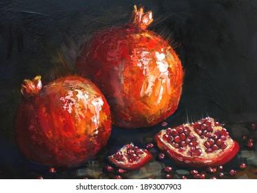 oil painting red pomegranates. Ripe pomegranates on a black background. still life, contemporary art