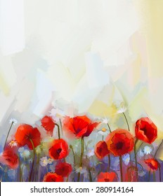 Oil  painting red poppy  flowers.  Spring  floral nature background