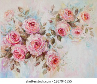 Oil painting, roses, flowers