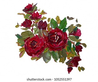 Oil painting roses flowers and drawing with trowel,Isolation background.