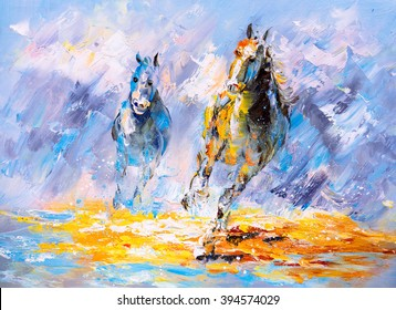 Oil Painting - Running Horse