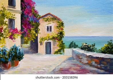 oil painting - Santorini, house near the sea