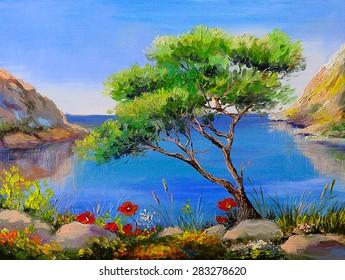 Oil painting - seashore, trees, mountains at sunset, sea landscape