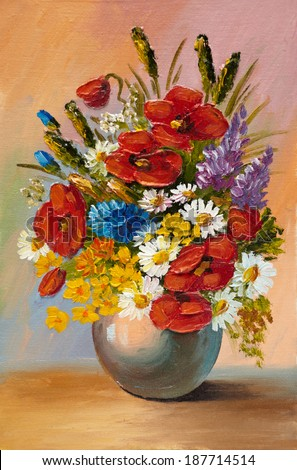 Royalty Free Stock Illustration Of Oil Painting Spring Flowers Vase