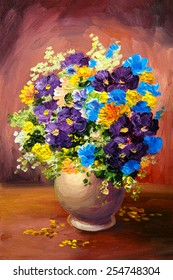 Oil painting of spring multicolored flowers in a vase on canvas, art work