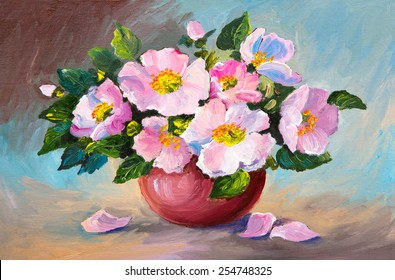 oil painting of spring pink wild roses in a vase on canvas art work - Vase Painting