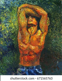 Oil painting of a standing man with a naked torso, covering the face