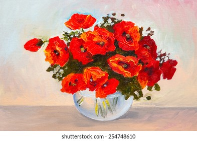 Oil painting still life, a bouquet of poppies in a vase, colorful watercolor
