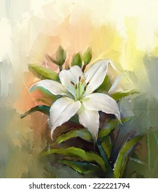 Oil painting still life of White lily flower with green leaf